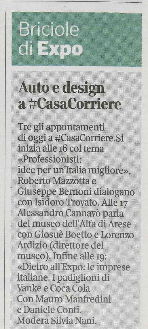 Bernoni in Casa Corriere di Expo 2015
